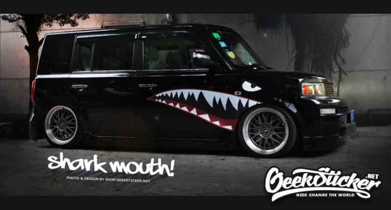 Free Shipping Hellaflush Shark Mouth Stickers Car Body