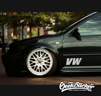 Drop shipping vw reflective car sticker hellaflush window decals car styling for volkswagen golf jetta scirocco black and white color